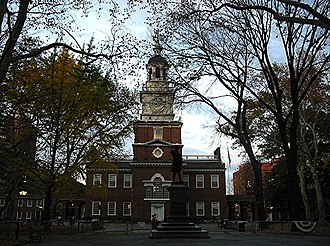 Timeline of drafting and ratification of the United States Constitution - Independence Hall, Philadelphia, Pennsylvania, where the Constitution was forged