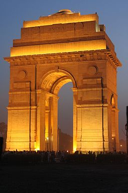 The India Gate in New Delhi was unveiled in 1931 to commemorate the losses of the British Indian Army in World War I and the Third Anglo-Afghan War India Gate illuminated.jpg