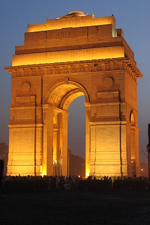 India Gate at night.