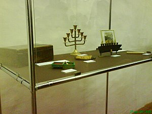 Maribor Synagogue - Exhibit case, interior of synagogue