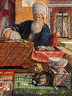 Islam and cats - Cat resting on a pillow next to an imam in Cairo, by John Frederick Lewis