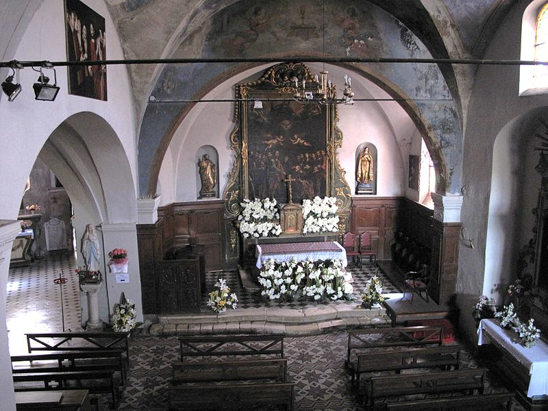 Interior of the Saint-Peter church in the  Haut-de-Cagnes (Alpes-Maritimes, France).