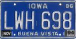 Iowa license plate, 1986–1996 series with November 1994 sticker.png