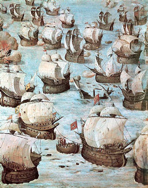 Battle of Ponta Delgada - Fresco by Niccolò Granello showing the Battle of Ponta Delgada in the Hall of Battles at El Escorial.