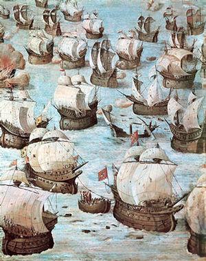 Battle of Ponta Delgada - Fresco by Niccolò Granello showing the Battle of Ponta Delgada in the Hall of Battles at El Escorial.
