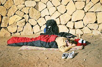 Sleeping bag - A person in a sleeping bag