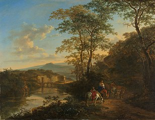 Italian landscape with the Ponte Molle