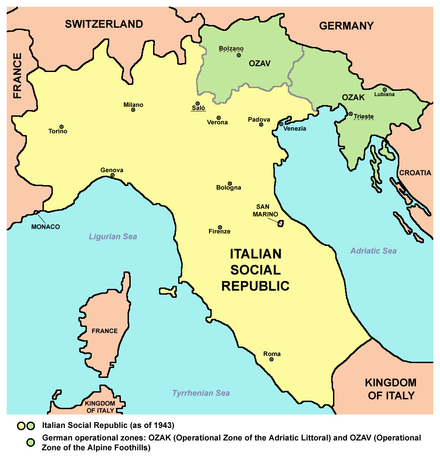 Italian Social Republic (RSI) as of 1943 in yellow and green. The green areas were German military operational zones under direct German administration. Italian social republic map.png