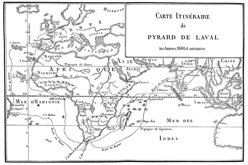 Itinéraire de Pyrard de Laval
