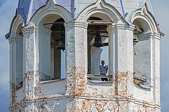 Bell-ringer - A bell-ringer at work in Palekh, Russia