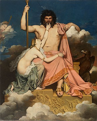"Thetis - Jupiter and Thetis, Ingres: ""She sank to the ground beside him, put her left arm round his knees, raised her right hand to touch his chin, and so made her petition to the Royal Son of Cronos"" (Iliad, I.)"