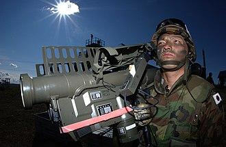 Rocket launcher - A JASDF soldier handles a Type 91 Kai MANPAD rocket launcher in Red Flag - Alaska.