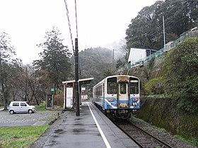 一辆开往阿波池田站的普通列车正停于靠于月台上,2008年摄。