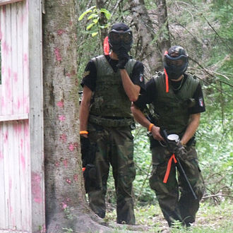 Paintball - Players with woodsball equipment