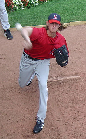 Jered Weaver - Weaver warming up in the bullpen in 2008.