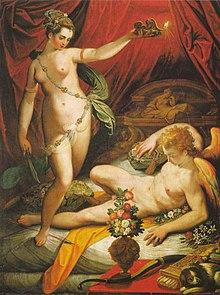 Psiche scopre l'identità dell'amante e fa cadere una goccia di olio bollente, Jacopo Zucchi