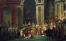Colored painting depicting Napoleon crowning his wife inside of a cathedral