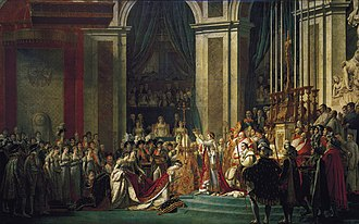 Emperor - One of the most famous Imperial coronation ceremonies was that of Napoleon, crowning himself Emperor in the presence of Pope Pius VII (who had blessed the regalia), at the Notre Dame Cathedral in Paris. The painting by David commemorating the event is equally famous: the gothic cathedral restyled style Empire, supervised by the mother of the Emperor on the balcony (a fictional addition, while she had not been present at the ceremony), the pope positioned near the altar, Napoleon proceeds to crown his then wife, Joséphine de Beauharnais as Empress.