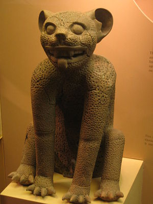 Jaguars in Mesoamerican cultures - Clay jaguar from Monte Alban, provisionally dated from 200 BC to AD 600.  Height: 56 cm (22 inches)