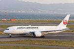Japan Air Lines, JL60, Boeing 787-8 Dreamliner, JA821J, Departed to Los Angeles, Kansai Airport (16577211843).jpg