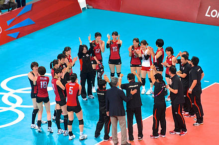 The Japanese team after winning the bronze medal