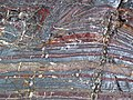 Jaspilite banded iron formation (Soudan Iron-Formation, Neoarchean, ~2.69 Ga; Stuntz Bay Road outcrop, Soudan Underground State Park, Soudan, Minnesota, USA) 56 (19199355126).jpg