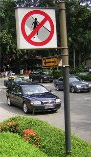 when a pedestrian crosses a roadway where regulations do not permit doing so