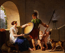 Painting depicting a Spartan woman giving her son his shield.