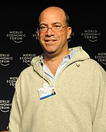 Jeff Zucker in a windbreaker, looking to his right.