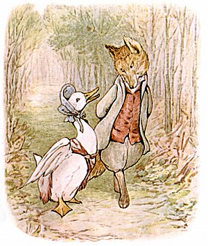 The Tale of Jemima Puddle-Duck - The frontispiece depicts Jemima confiding in the fox. Her poke bonnet was not the fashion among farmwomen at the time of the book's publication but its incorporation in the text and illustrations sets the tale in a not-too-distant fairy tale past.