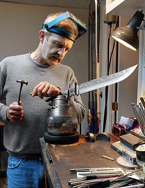 Knife making - Jere Davidson engraving a knife