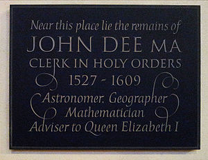Mortlake - John Dee memorial plaque in the church of St Mary the Virgin Mortlake