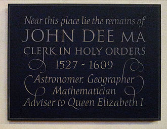 Mortlake - John Dee memorial plaque in the church of St Mary the Virgin Mortlake