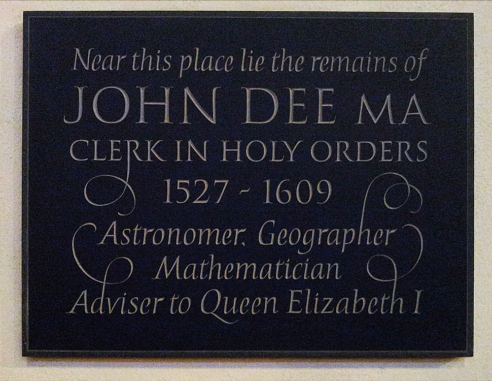 John Dee memorial plaque at S Mary the Virgin Mortlake