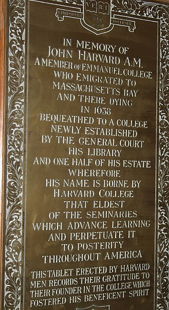 John Harvard (clergyman) - Tablets, Emmanuel College chapel