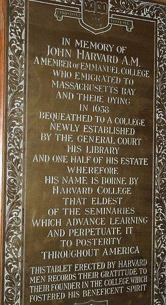 John Harvard (clergyman) - Tablets, Emmanuel College chapel