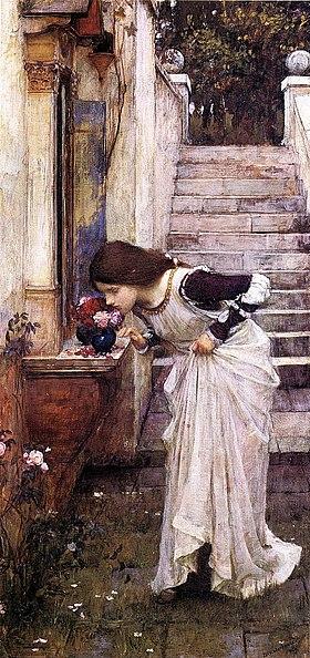 Woman at a yard shrine (Waterhouse, 1895)