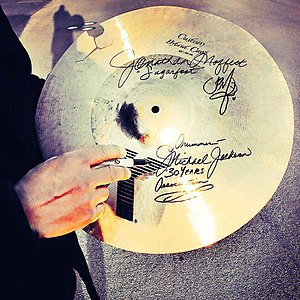 Jonathan Moffett - Moffett broke this cymbal after playing with intensity and signed it afterwards for charity