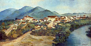 Guaratinguetá - Guaratinguetá in 1835, according to painting by José Canella Filho.