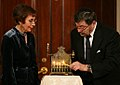 Judea and Ruth Pearl lighting a menorah at the White House.jpg