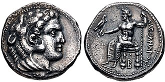 "Balakros - Coinage of Alexander the Great struck under Balakros or Menes circa 333-327 BC. The letter ""B"" appears under the throne of Zeus."