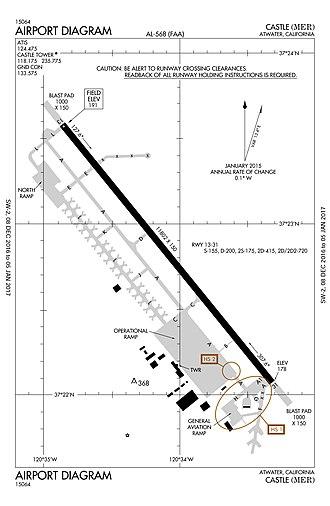 Castle Airport - Image: KMER Airport Diagram 12082016