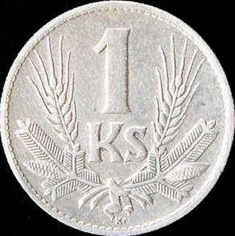 Coins of the Slovak koruna (1939–45) - Image: KS 1 1942 reverse