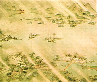 Bombardment of Kagoshima - Japanese defenses combating Western ships. Japanese painting.
