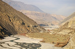 Kagbeni, Mustang - The Kali Gandaki River and rice fields near Kagbeni