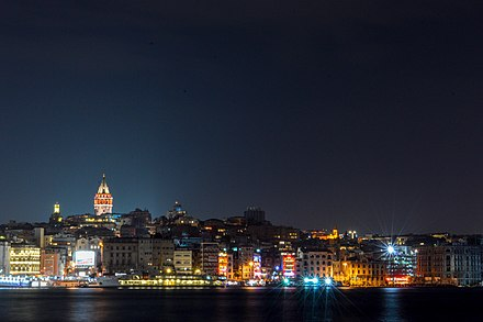 The Karakoy skyline viewed at night, with the illuminated Galata Tower in the background Karakoy.jpg