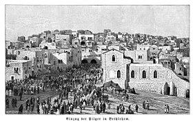 Karl Oenike, Einzug der Pilger in Bethlehem (1894).jpg