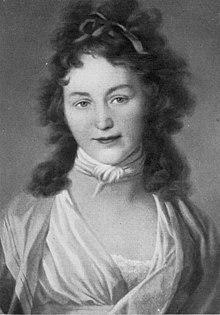 """Caroline von Boehmer-Schlegel-Schelling. """"Über ein Gedicht von Schiller, das Lied von der Glocke, sind wir gestern Mittag fast von den Stühlen gefallen vor Lachen, es ist à la Voss, à la Tieck, à la Teufel, wenigstens um des Teufels zu werden.""""[10] (Quelle: Wikimedia)"""