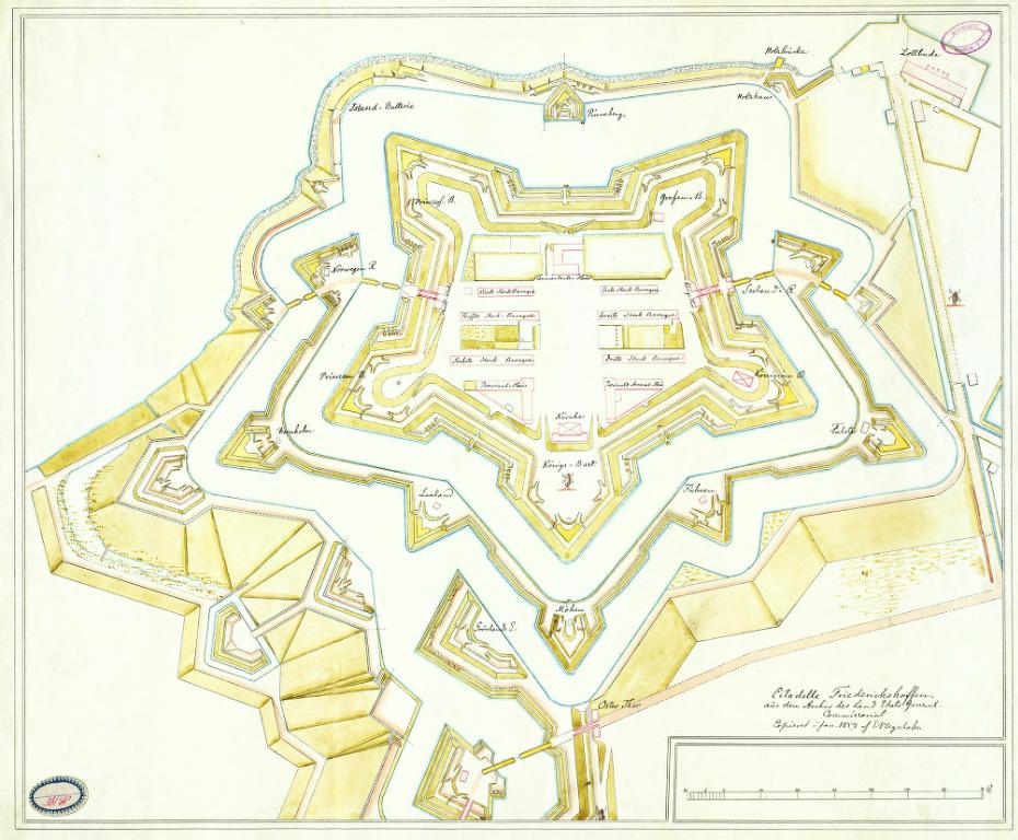 Plan incliné de l'ancienne fortification du Kastellet à Copenhague. Illustration de E.V. Agerholm