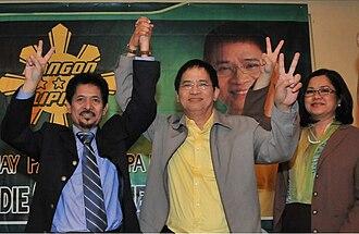 Eddie Villanueva - Eddie Villanueva together with Autonomous Region in Muslim Mindanao (ARMM) governor Nur Misuari and broadcast journalist Kata Inocencio during his 2010 presidential campaign under the Bangon Pilipinas